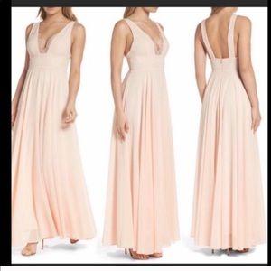 Lulus | Pink Chiffon Lace Maxi Dress size Small